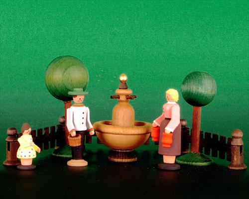 Seiffen Weihnachtshaus - Sommermarkt Brunnen 9 tlg - Bild 1
