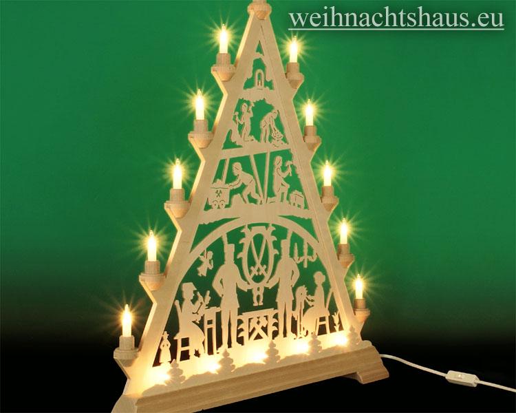 Seiffen Weihnachtshaus - Tannenspitze 16 Kerzen Erzgebirge 57 cm - Bild 2