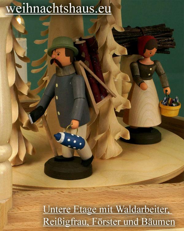 Seiffen Weihnachtshaus - 3 Stock Stufenpyramide 109 cm mit Erzgebirgsfiguren - Bild 3