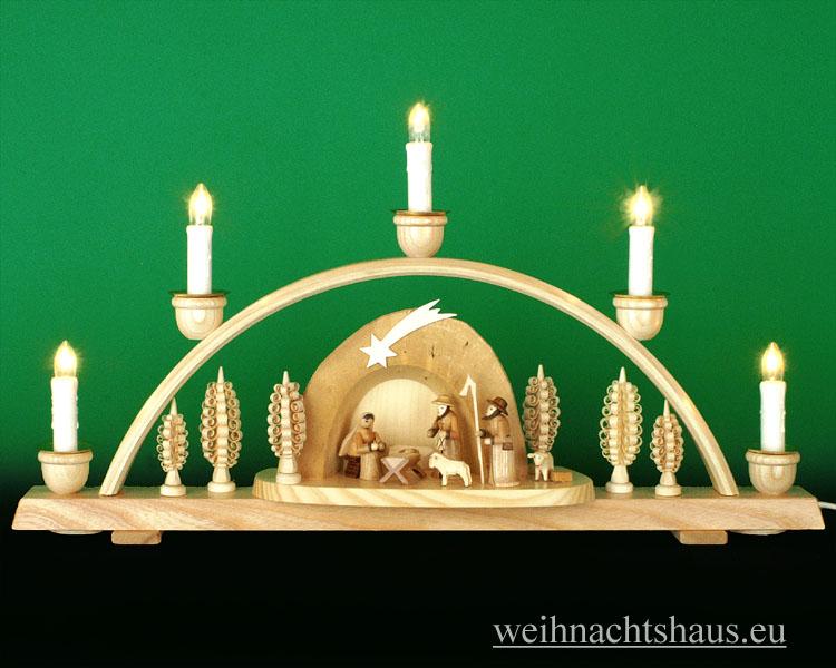 Seiffen Weihnachtshaus - Schwibbogen 5 Kerzen Krippe in der Grotte 50 cm - Bild 1