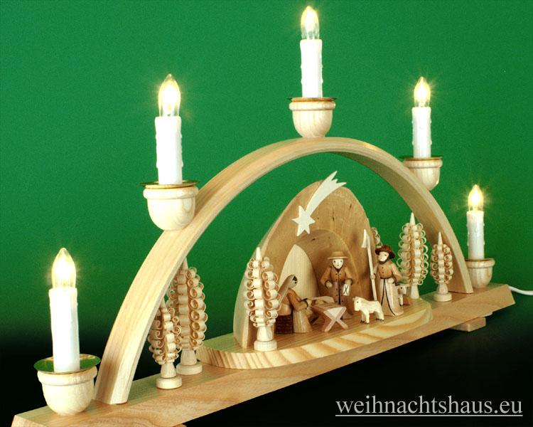 Seiffen Weihnachtshaus - Schwibbogen 5 Kerzen Krippe in der Grotte 50 cm - Bild 2