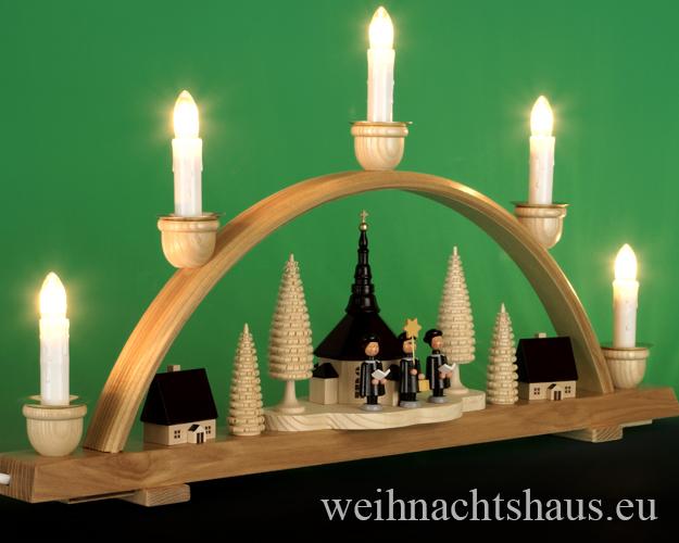 Seiffen Weihnachtshaus - Schwibbogen 5 Kerzen Seiffener Kirche 50 cm - Bild 2