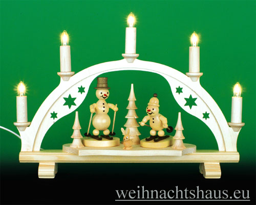 Seiffen Weihnachtshaus - Schwibbogen 5 Kerzen Schneemann 38 cm - Bild 1