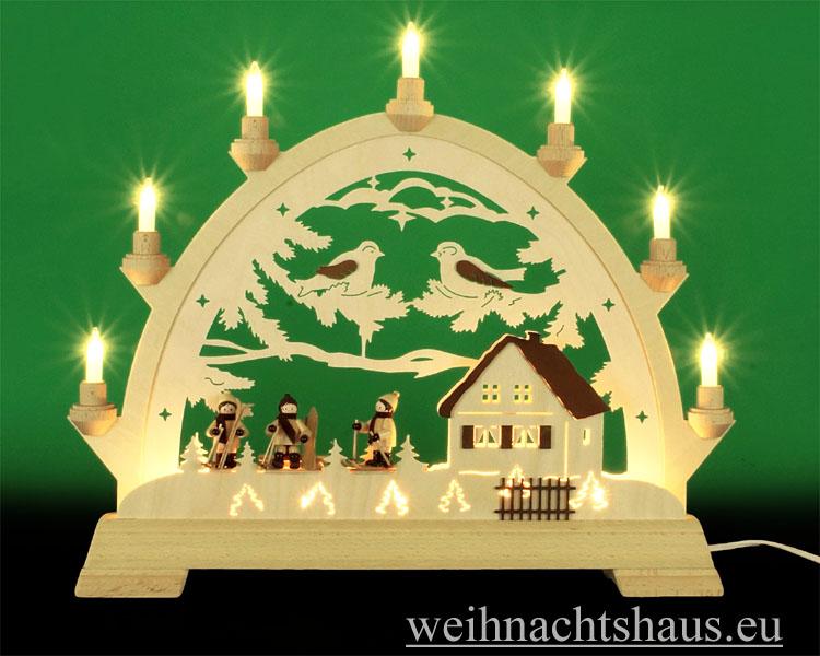 Seiffen Weihnachtshaus - Schwibbogen 10 Kerzen Winterhaus mit 3 Skifahrer - Bild 1