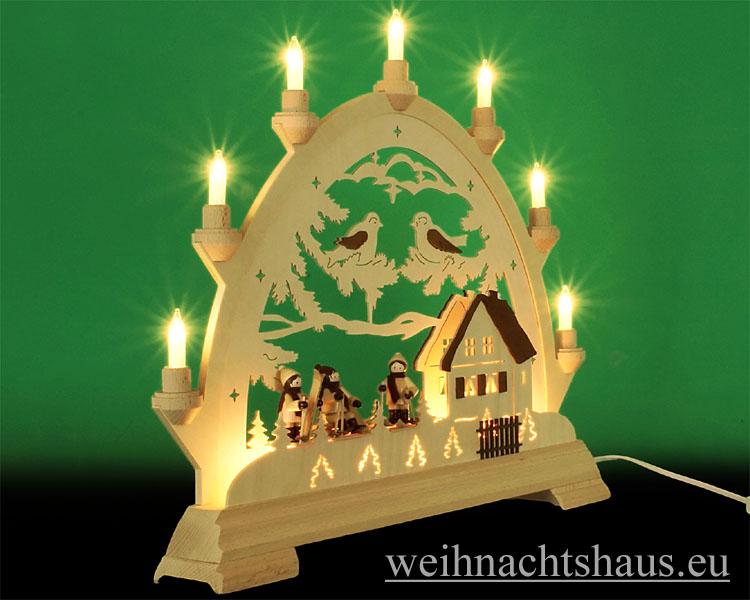 Seiffen Weihnachtshaus - Schwibbogen 10 Kerzen Winterhaus mit 3 Skifahrer - Bild 2