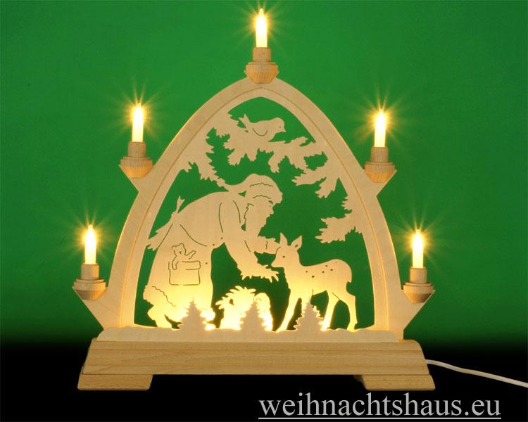 Seiffen Weihnachtshaus - Lichterspitze Erzgebirge beleuchtet Weihnachtsmann 40 cm - Bild 1