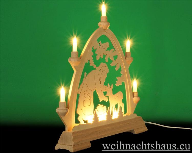 Seiffen Weihnachtshaus - Lichterspitze Erzgebirge beleuchtet Weihnachtsmann 40 cm - Bild 2