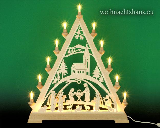 Seiffen Weihnachtshaus - Tannenspitze 16 Kerzen Geburt mit Kirche 57 cm - Bild 1