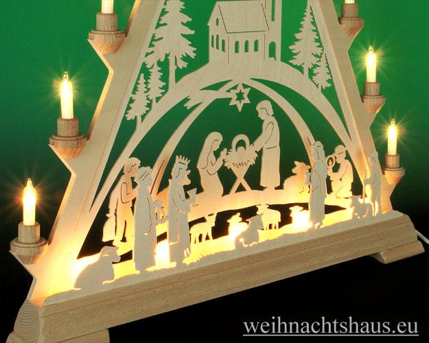 Seiffen Weihnachtshaus - Tannenspitze 16 Kerzen Geburt mit Kirche 57 cm - Bild 2