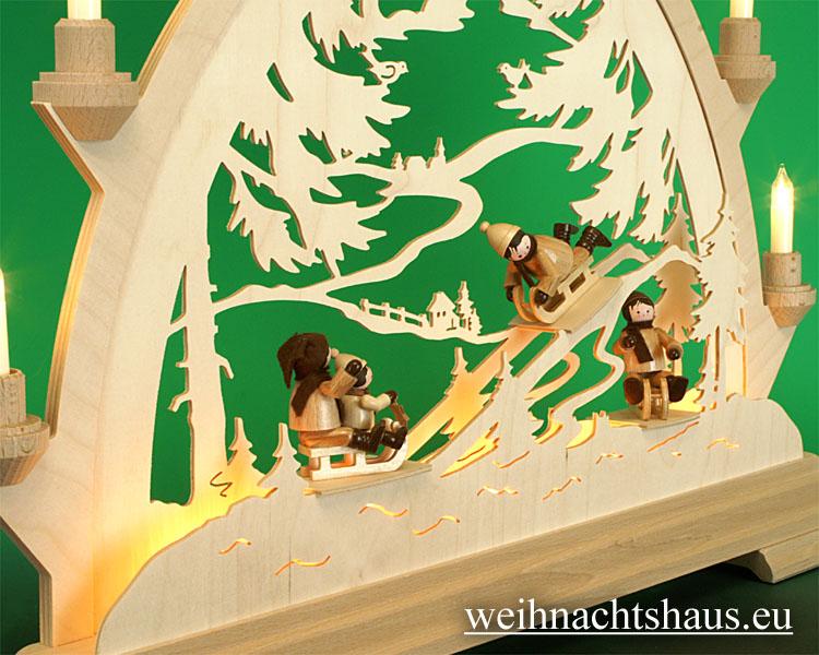 Seiffen Weihnachtshaus - Schwibbogen 10 Kerzen Rodelberg Erzgebirge - Bild 2