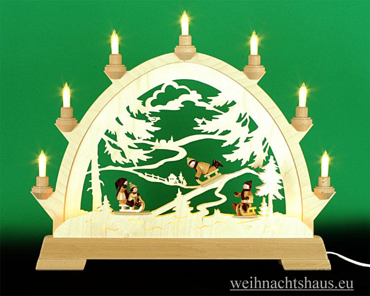 Seiffen Weihnachtshaus - Schwibbogen 10 Kerzen Rodelberg Erzgebirge - Bild 1