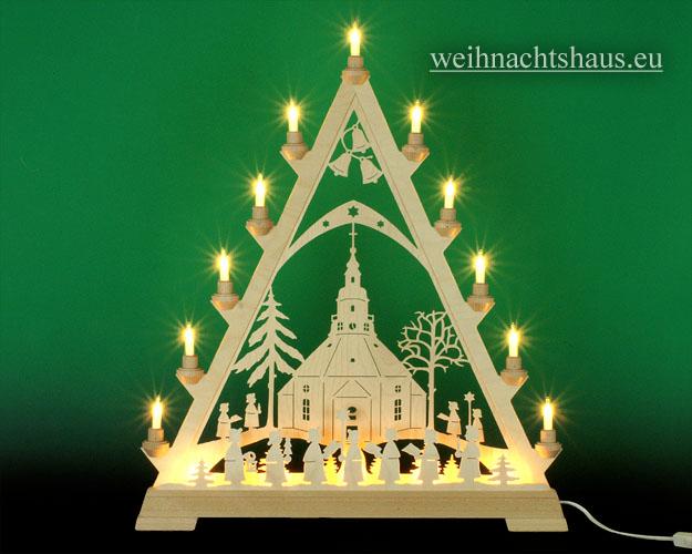 Seiffen Weihnachtshaus - Tannenspitze 16 Kerzen Seiffener Kirche 57 cm - Bild 1