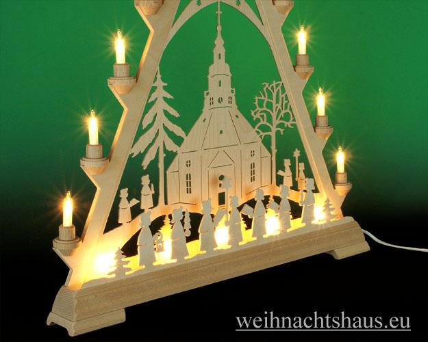 Seiffen Weihnachtshaus - Tannenspitze 16 Kerzen Seiffener Kirche 57 cm - Bild 2
