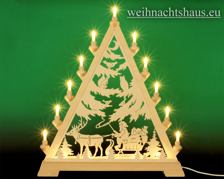 Seiffen Weihnachtshaus - Tannenspitze 16 Kerzen Weihnachsmann mit Schlitten 57 cm - Bild 1