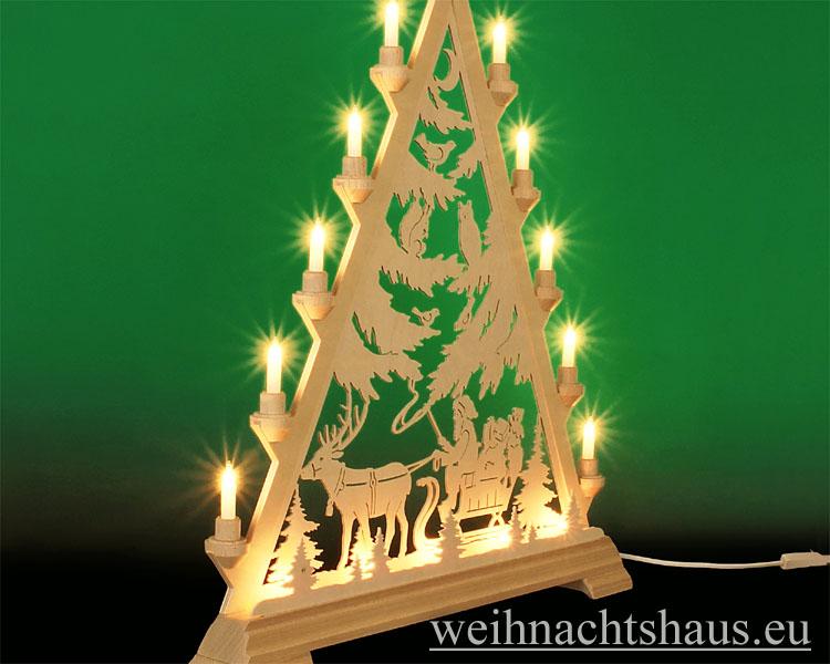 Seiffen Weihnachtshaus - Tannenspitze 16 Kerzen Weihnachsmann mit Schlitten 57 cm - Bild 2