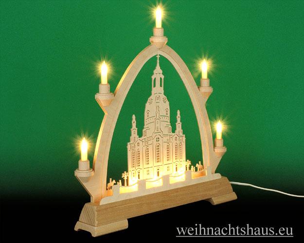 Seiffen Weihnachtshaus - Gotische Spitze 8 Kerzen Frauenkirche 40 cm - Bild 2