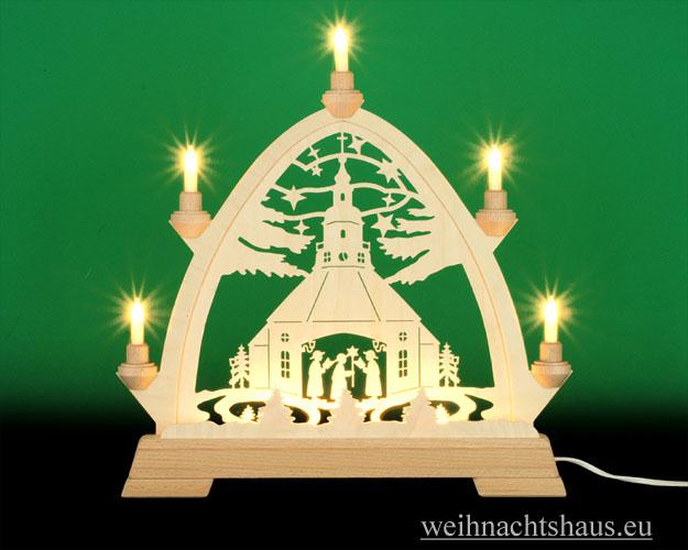 Seiffen Weihnachtshaus - Gotische Spitze 8 Kerzen Seiffener Kirche 40 cm - Bild 1