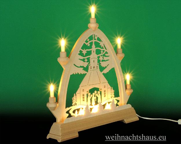Seiffen Weihnachtshaus - Gotische Spitze 8 Kerzen Seiffener Kirche 40 cm - Bild 2