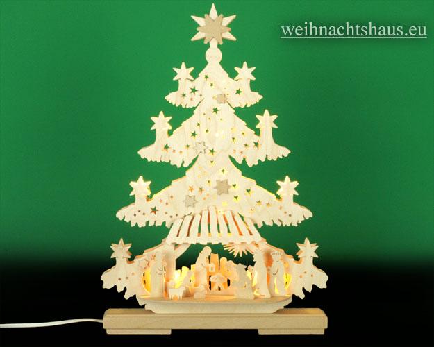 Seiffen Weihnachtshaus - Doppelbogen 10 Kerzen Tanne Christuskind 30 cm - Bild 1
