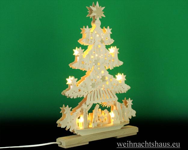 Seiffen Weihnachtshaus - Doppelbogen 10 Kerzen Tanne Christuskind 30 cm - Bild 2