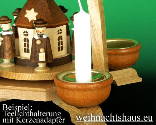 Seiffen Weihnachtshaus - Adapter Teelicht auf Kerze - Bild 2
