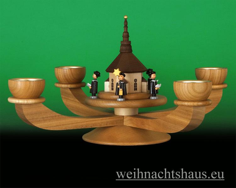 Seiffen Weihnachtshaus - Adventsleuchter Erzgebirge natur für Teelichte Seiffener Kirche - Bild 1