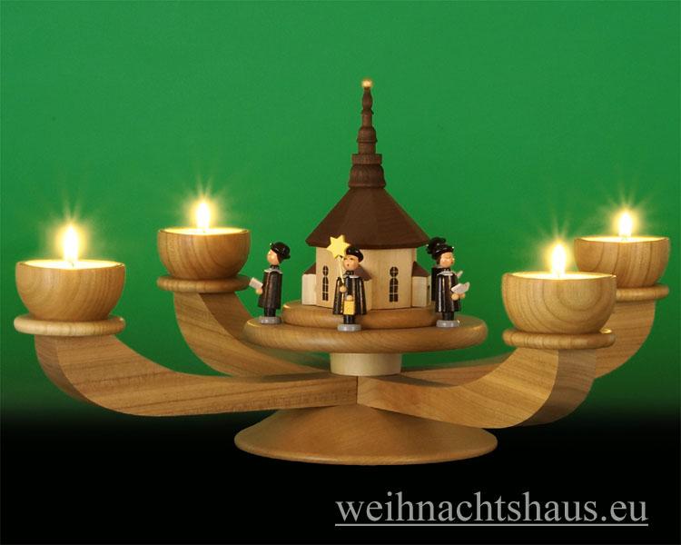 Seiffen Weihnachtshaus - Adventsleuchter Erzgebirge natur für Teelichte Seiffener Kirche - Bild 2