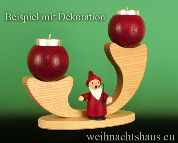 Seiffen Weihnachtshaus - Leuchter 2 flammig ohne Figuren leer Teelichte  rot - Bild 2