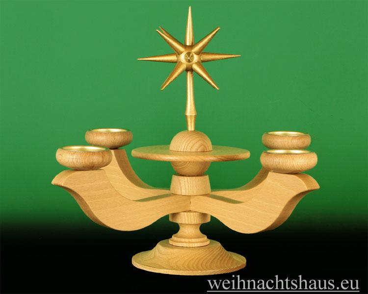 Seiffen Weihnachtshaus - Adventsleuchter Erzgebirge natur für Teelichte Barock - Bild 1