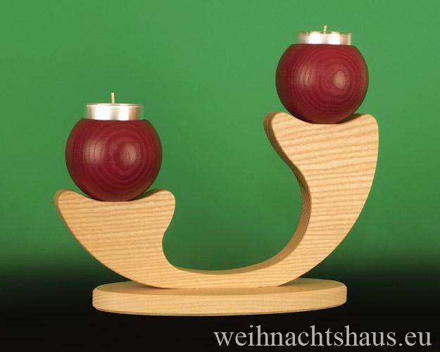 Seiffen Weihnachtshaus - Leuchter 2 flammig ohne Figuren leer Teelichte  rot - Bild 1