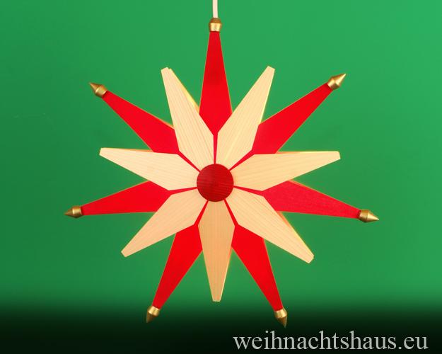 Weihnachstern Holzstern beleuchtet aus Holz  Rot natur Dekostern Erzgebirge Weihnachtsdeo