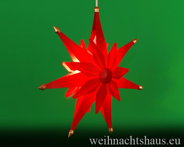 Seiffen Weihnachtshaus - Weihnachstern aus Holz natur 40 cm doppelt Rot - Bild 2