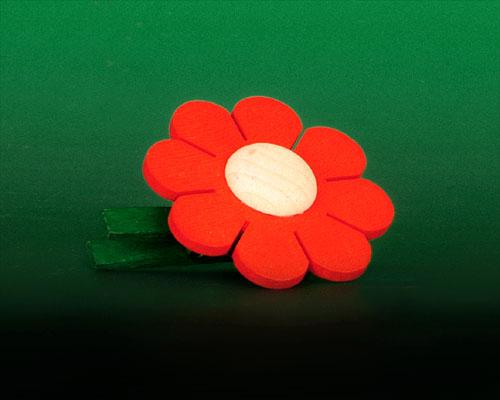 Seiffen Weihnachtshaus - Klammerblume klein rot - Bild 1