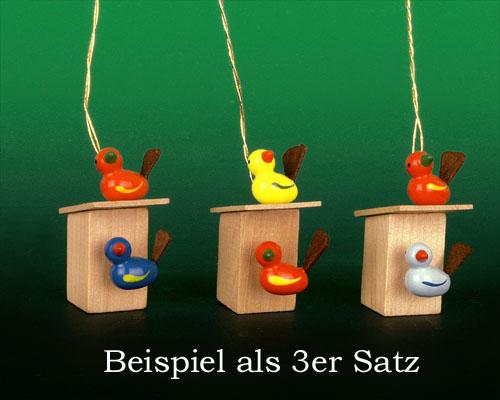 Seiffen Weihnachtshaus - Behang farbig Vogelhaus rot/hellblau - Bild 2