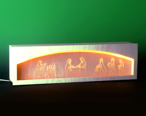 Seiffen Weihnachtshaus - Bank für Schwibbogen 50 cm beleuchtet Krippenmotiv - Bild 1