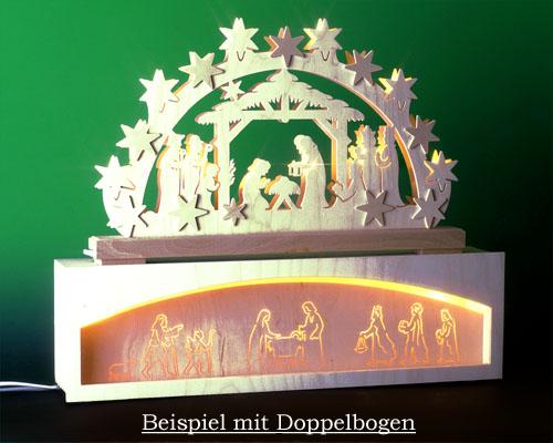 Seiffen Weihnachtshaus - Bank für Schwibbogen 50 cm beleuchtet Krippenmotiv - Bild 2