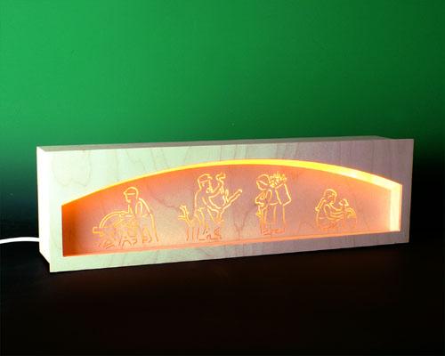 Seiffen Weihnachtshaus - Bank für Schwibbogen 50 cm beleuchtet Waldmotiv - Bild 1
