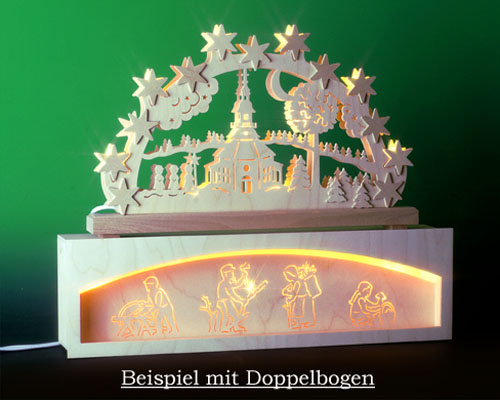 Seiffen Weihnachtshaus - Bank für Schwibbogen 50 cm beleuchtet Waldmotiv - Bild 2