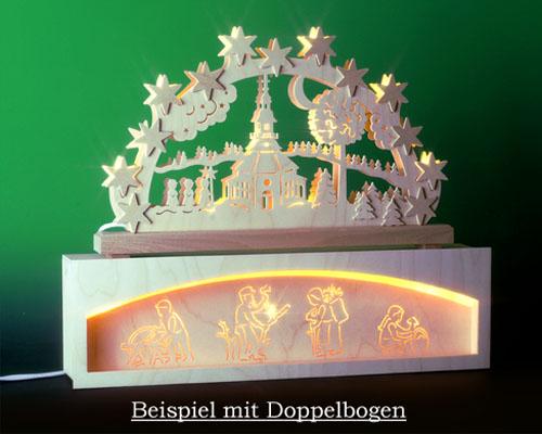 Seiffen Weihnachtshaus - Bank für Schwibbogen 50 cm beleuchtet Waldmotiv - Bild 2