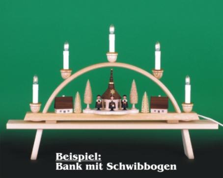 Seiffen Weihnachtshaus - Bank für  Schwibbogen 60 cm/ breite Ausführung - Bild 2