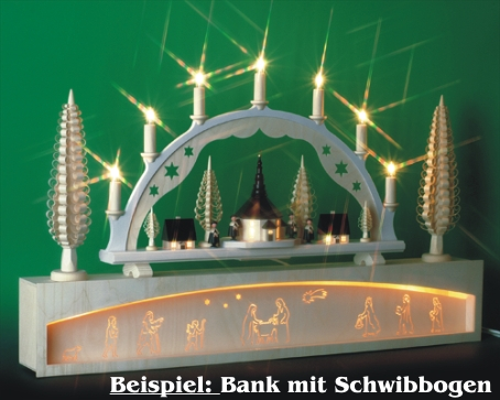 Seiffen Weihnachtshaus - Bank für Schwibbogen 80 cm beleuchtet Krippenmotiv - Bild 2