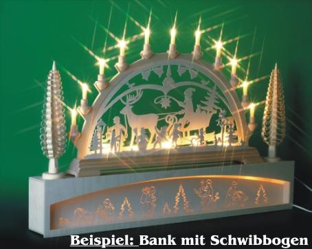 Seiffen Weihnachtshaus - Bank für Schwibbogen 80 cm beleuchtet Waldmotiv - Bild 2