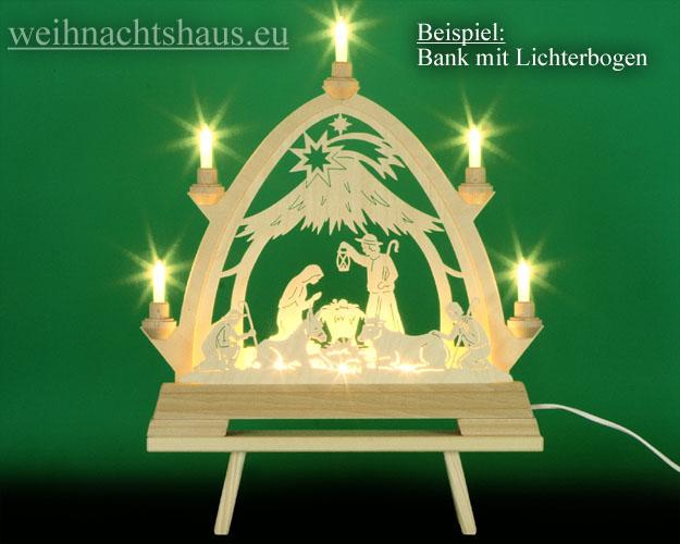 Seiffen Weihnachtshaus - Schwibbogenbank  Schwibbogenerhöhung alle Größen 40 cm - Bild 2