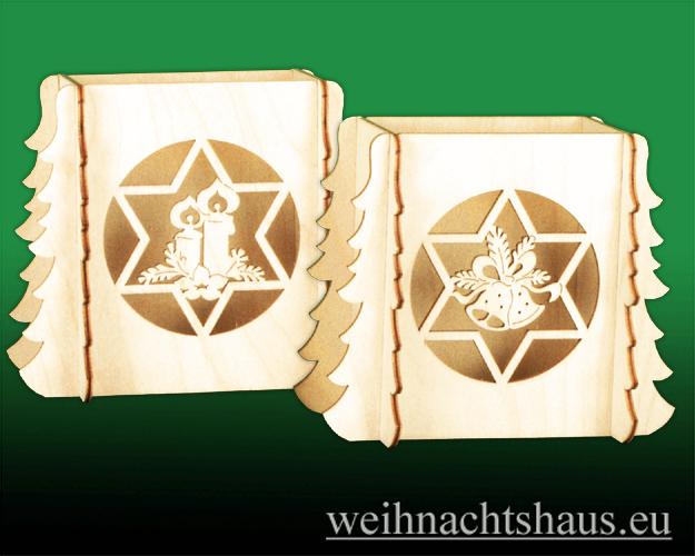 Seiffen Weihnachtshaus - Bank für Schwibbogen zum Zusammen-stecken Sternmotive - Bild 1
