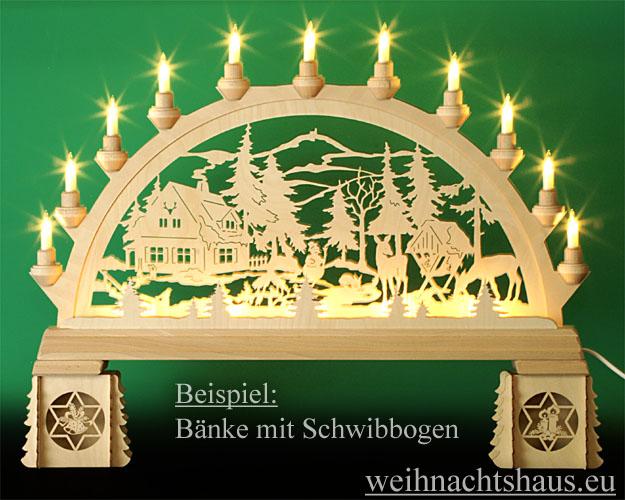 Seiffen Weihnachtshaus - Bank für Schwibbogen zum Zusammen-stecken Sternmotive - Bild 2