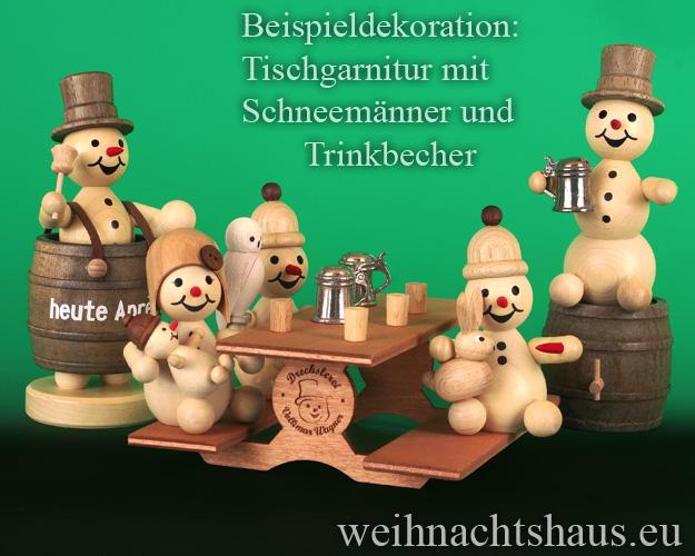 Seiffen Weihnachtshaus - .       Kugelschneemann Tischgarnitur für Schneemänner Neuheit 2021 - Bild 1