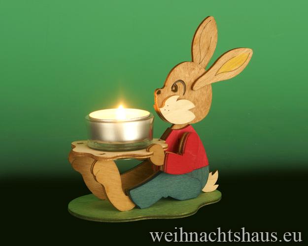 Seiffen Weihnachtshaus - Bastelsatz Erzgebirge  Teelichthalter Osterhase Bunny - Bild 2