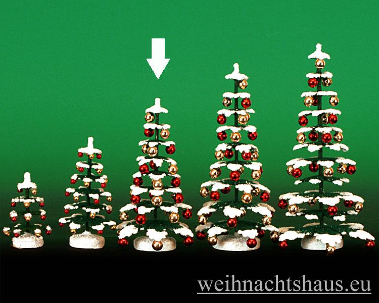 Seiffen Weihnachtshaus - Puppenstuben Baum grün mit Schnee und Kugeln ca.11cm - Bild 1