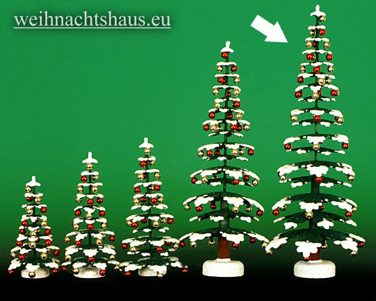 Seiffen Weihnachtshaus - Puppenstubenbaum grün mit Schnee und Kugeln ca.29,5cm - Bild 1