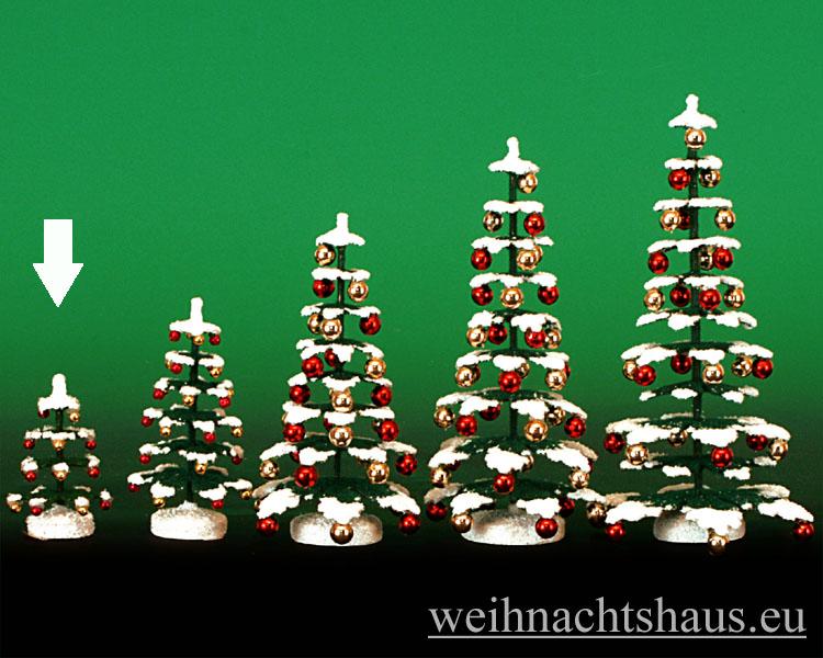Seiffen Weihnachtshaus - Puppenstuben Baum grün mit Schnee und Kugeln ca. 5,5cm - Bild 1